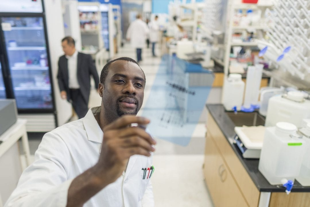 African-American male scientist working in a lab